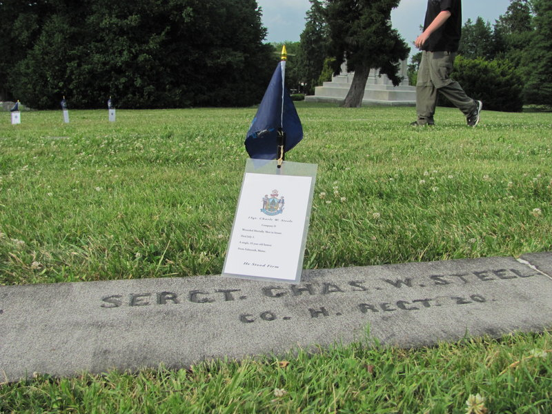 Sgt. Charles W. Steel of the 20th Maine Regiment is one of 104 Maine men buried at Soldiers' National Cemetery at Gettysburg National Military Park.