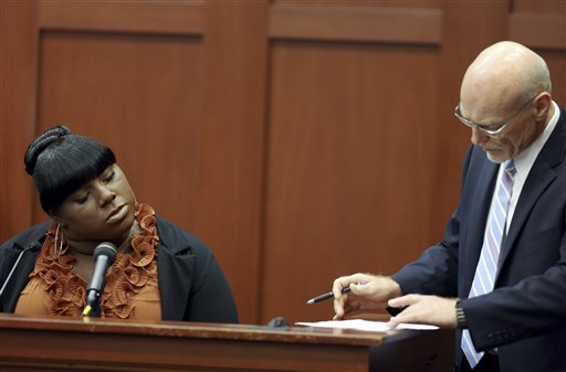 Witness Rachel Jeantel continues her testimony to defense attorney Don West on day 14 of George Zimmerman's trial in Seminole Circuit Court in Sanford, Fla., on Thursday.