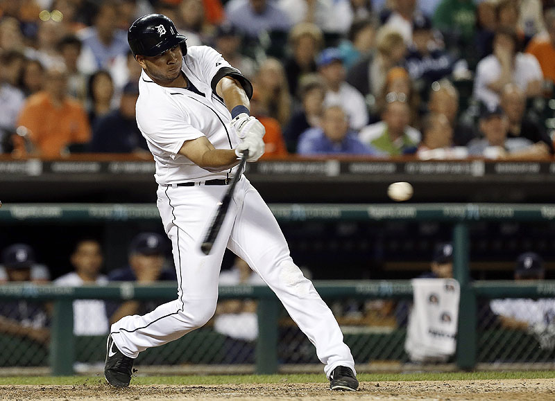 Jhonny Peralta of the Detroit Tigers takes the swing Thursday night that resulted in a two-run homer in the ninth inning, sending the Boston Red Sox to a 4-3 defeat.