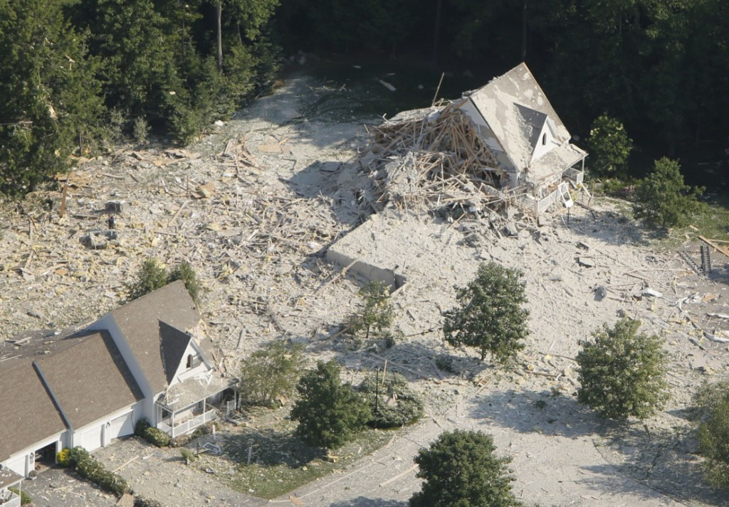 The scene of the destruction after an early Tuesday morning explosion in Yarmouth.