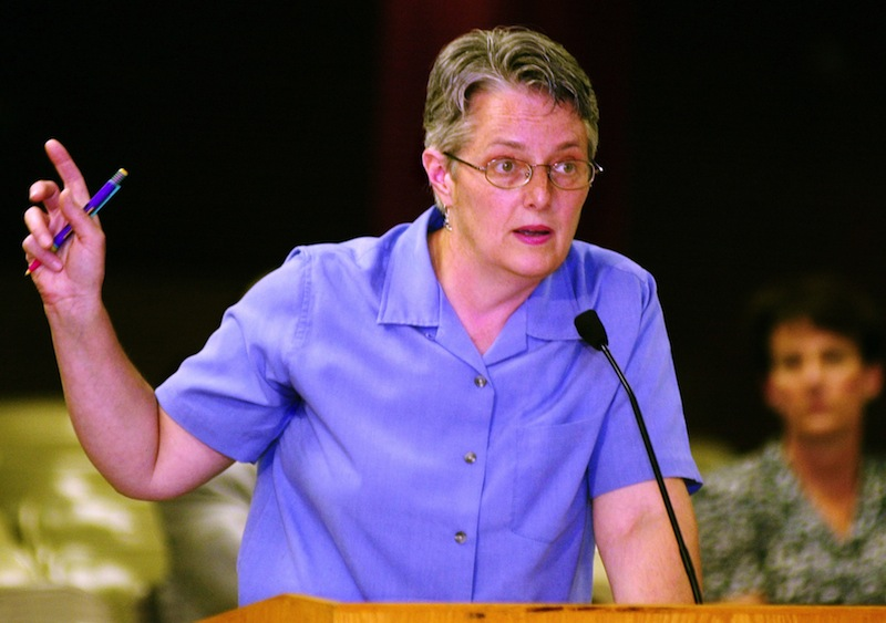 In this June 2001 file photo, Amanda Rowe, nurse coordinator for Portland Schools, speaks in favor of the proposal to dispense contraceptives to qualified high school students. Rowe, an outspoken advocate for children's health, died from breast cancer Sunday, July 14, 2013 at 58 years old. Gordon Chibroski