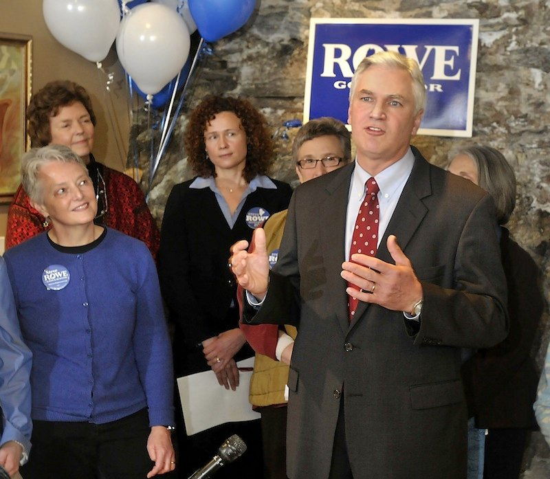 In this March 2010 file photo, Amanda Rowe looks at her husband, Maine Attorney General Steve Rowe, as he thanks