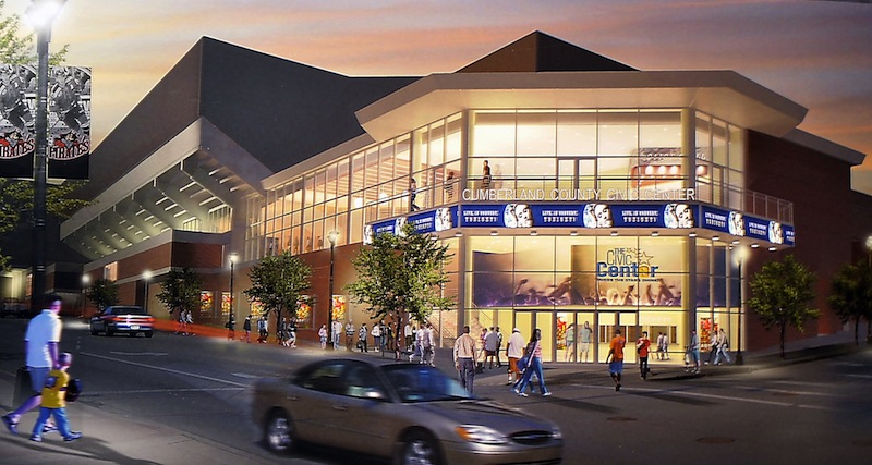 This artist conception, an overlay on a photo of the present Cumberland County Civic Center, shows the what the southeast corner of the building will eventually look like. Front Row Marketing Services will sell the naming rights, corporate sponsorships and premium seating in the renovated Portland venue.