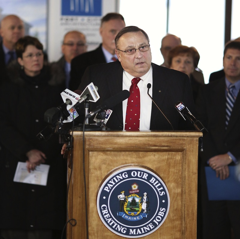 In this January file photo, Gov. Paul LePage holds a press conference at the University of New England's College of Dental Medicine. LePage vetoed a bill Monday that would bolster a state program to phase out toxic chemicals in children's products, citing the cost of adding staff.