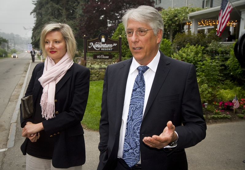 Les Otten, who was a candidate for governor in 2010, speaks to members of the media outside the Nonantum Resort in Kennebunkport, where he was attending a fundraiser for Maine Gov. Paul LePage on Tuesday. At left is Veronica Cross.