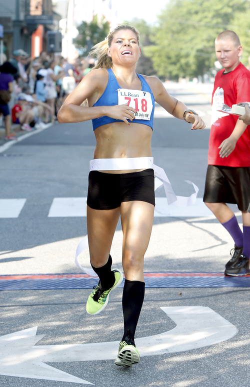Erica Jesseman of Scarborough felt she hadn't been running that well, but this time she nailed it at the L.L. Bean race, with a faster winning time than last year despite heat.