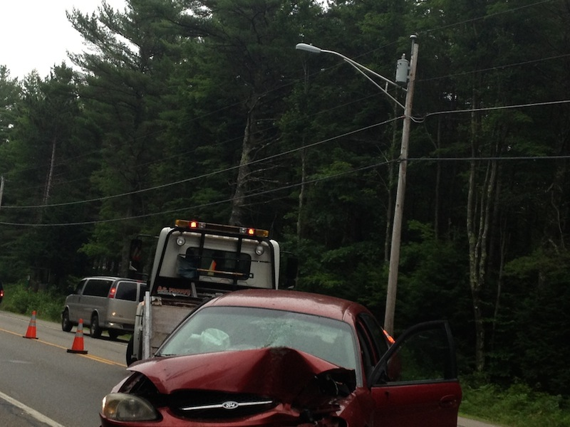 A Ford Taurus was sent airborne and struck a tree head on after trying to avoid a deer on the Carl Broggi Highway in Lebanon, Maine, the driver said. 7-10-2013