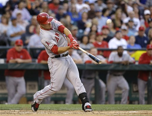 Los Angeles Angels' Mike Trout in action against the Seattle Mariners in a baseball game Saturday, July 13, 2013, in Seattle.