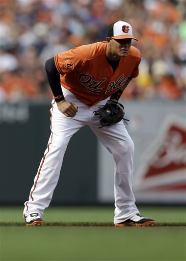 Baltimore Orioles third baseman Manny Machado stands in the infield during a baseball game against the Toronto Blue Jays, Saturday, July 13, 2013, in Baltimore.