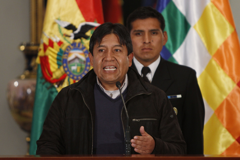 Bolivia's Foreign Minister David Choquehuanca speaks during a news conference in La Paz, Bolivia, on Tuesday. He said the plane bringing President Evo Morales home from Russia was rerouted to Austria after France and Portugal refused to let it to cross their airspace because of suspicions that NSA leaker Edward Snowden was on board.