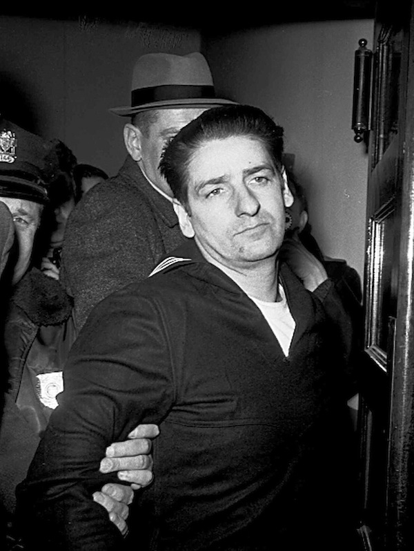 This Feb. 25, 1967, file photo shows self-confessed Boston Strangler Albert DeSalvo minutes after his capture in Boston. DeSalvo confessed to the string of 1960s killings but was never convicted. He died in prison in the 1970s. Massachusetts officials said Thursday, July 11, 2013, that DNA technology led to a breakthrough, putting them in a position to formally charge the Boston Strangler with the murder of Mary Sullivan, last of the slayings attributed to the Boston Strangler. (AP Photo, File)