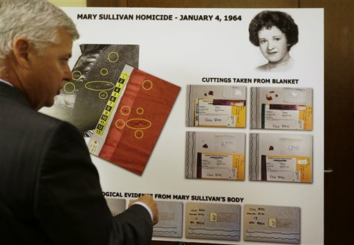 In this July 11, 2013, photo, Suffolk County District Attorney Daniel Conley, left, discusses an evidence chart that shows a likeness of homicide victim Mary Sullivan, top right, following a news conference at Boston Police headquarters.