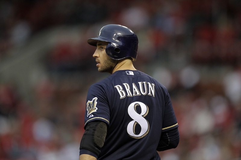This April 27, 2012 file photo shows Milwaukee Brewers' Ryan Braun preparing to bat during a baseball game against the St. Louis Cardinals in St. Louis. Braun, a former National League MVP , has been suspended without pay for the rest of the season and admitted he