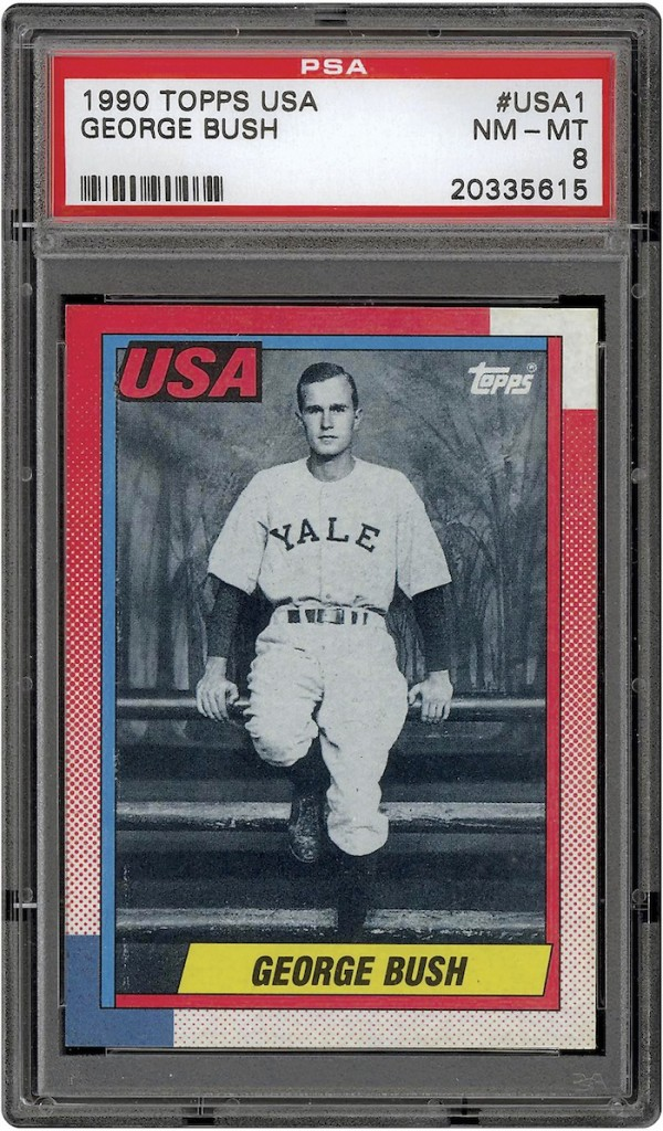 The photo released by Professional Sports Authenticator shows a baseball card produced by Topps trading card company in 1990 that depicts former President George H.W. Bush as a Yale first baseman. The card, with a surface similar to other Topps card issues that year, was not among those given directly to President Bush at the White House on Feb. 5, 1990 by Topps CEO Arthur Shorin. Those issued to Bush had a reflective coating on the surface. Baseball cards depicting the former president have fetched thousands of dollars each since they were specially-made for the White House in 1990. But Joe Orlando, president of Professional Sports Authenticator in Santa Ana, Calif., said Tuesday, July 9, 2013, that many of the Bush cards in circulation were not part of the set presented to the president.