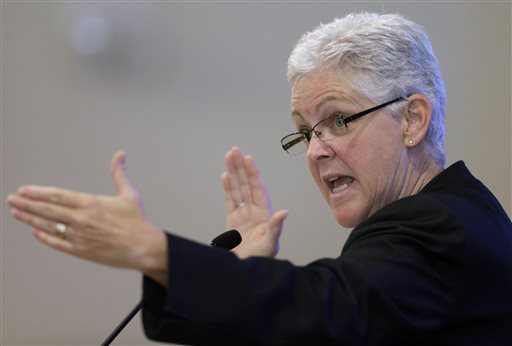 """New U.S. Environmental Protection Agency Administrator Gina McCarthy delivers a speech at Harvard Law School in Cambridge, Mass., on Tuesday: """"I don't think it is my job out of the gate to know what the path forward is."""""""