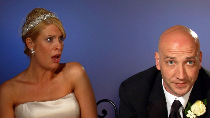"""This image from video released by WE TV shows Kirsten Walker, left, and her husband Seth, a couple showcased on the sixth season of the popular wedding series """"Bridezillas."""" Walker was a theater actor before hitting the show with enough drama for an Oscar, warring with her band, lamenting that her dress had been cut too short and sobbing on her wedding day."""