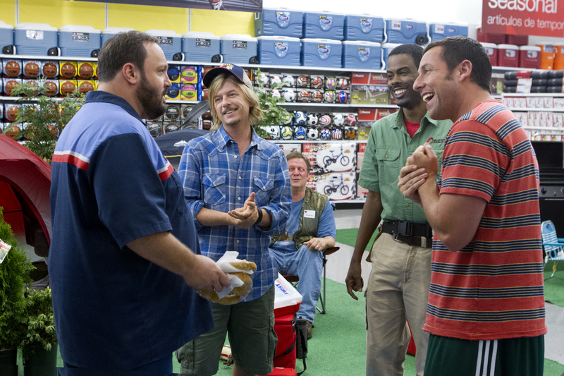 """From left, Kevin James, David Spade, Jonathan Loughran, seated, Chris Rock and Adam Sandler in a scene from """"Grown Ups 2."""""""