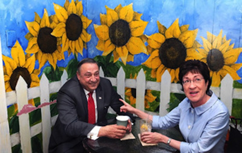 In this July 2010 file photo, U.S. Sen. Susan Collins, R-Maine, and then-Republican gubernatorial candidate Paul LePage have coffee together. Collins and former U.S. Sen. Olympia Snowe will be honorary hosts of a LePage re-election campaign fundraiser Tuesday, July 2, 2013.