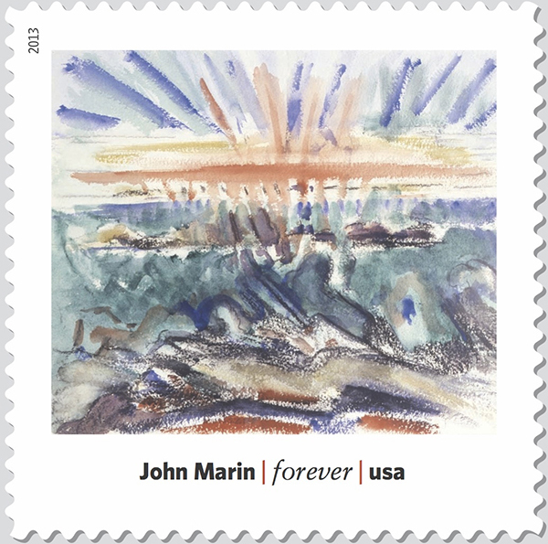 "John Marin's ""Sunset, Maine Coast"" (1919) is part of a Modern Art in America stamp series."