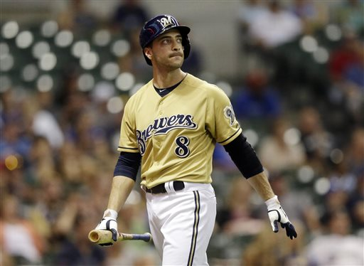Milwaukee Brewers' Ryan Braun reacts after striking out after pinch hitting during the 11th inning of a game against the Miami Marlins on Sunday in Milwaukee. Braun, who has been suspended without pay for the rest of the season, admits he