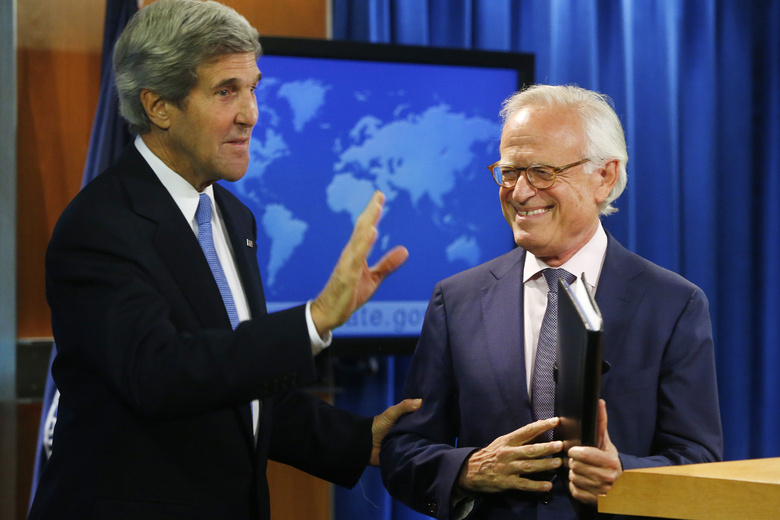 Secretary of State John Kerry stands with former U.S. Ambassador to Israel Martin Indyk at the State Department in Washington on Monday as he announces that he Indyk will shepherd the Israeli-Palestinian peace talks.