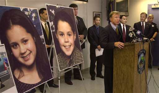 Officials in Concord, N.H., announce that Philip and Sarah Gehring are missing at a 2003 news conference. Volunteers across the country searched more than two years before the children's bodies were found.
