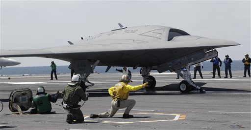 A Navy X-47B drone is launched off the nuclear powered aircraft carrier USS George H. W. Bush off the coast of Virginia, in this May 14, 2013 photo. The Navy says the X-47B experimental aircraft will try to land aboard the carrier on Wednesday.