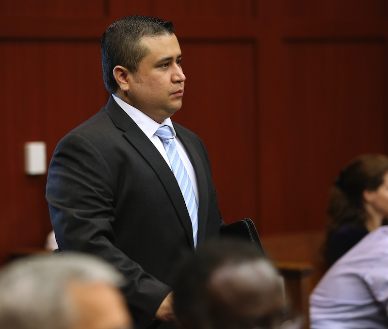 George Zimmerman arrives for the 16th day of his trial in Seminole circuit court, in Sanford, Fla., Monday, July 1, 2013. Zimmerman has been charged with second-degree murder for the 2012 shooting death of Trayvon Martin. (AP Photo/Orlando Sentinel, Joe Burbank, Pool)