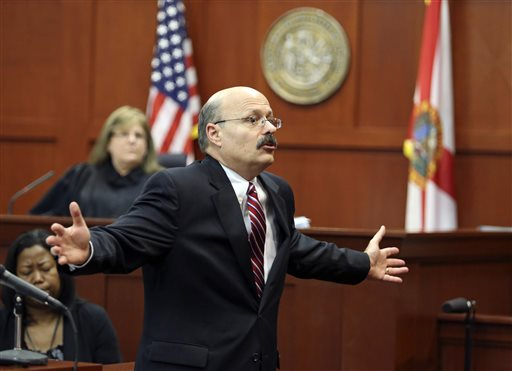 Assistant state attorney Bernie de la Rionda presents the state's closing arguments in George Zimmerman's trial in Seminole circuit court in Sanford, Fla. Thursday, July 11, 2013. Zimmerman has been charged with second-degree murder for the 2012 shooting death of Trayvon Martin.