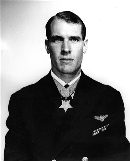 This April 3, 1950, photo provided by the U.S. Navy shows Thomas Hudner, who received the Medal of Honor for crash-landing his plane and trying to save Jesse Brown, his wingman, who went down behind enemy lines during the Korean War.