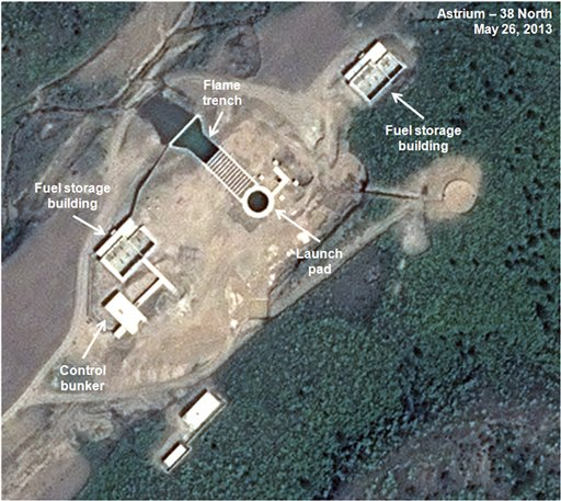 This May 26, 2013, satellite image shows an unfinished new launch pad, center, at the Tonghae facility in North Korea.