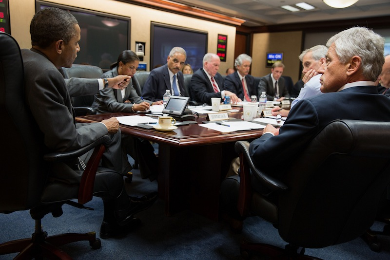 President Barack Obama meets with members of his national security team in the Situation Room of the White House on July 3, 2013.