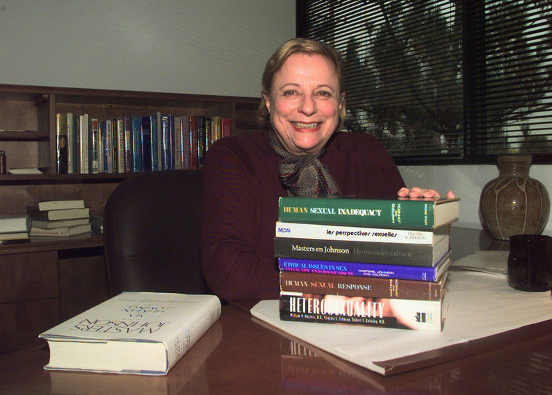 Virginia Johnson Masters sits in her office at the Virginia Johnson Masters Learning Center in Creve Coeur, Mo., with some of the 19 publications that she wrote or co-wrote with her former husband and former partner Dr. William Masters. Johnson died Wednesday at age 88.