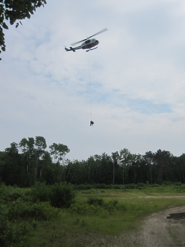 A 62-year-old Texas man is shown being airlifted off a hiking trail on Mount Katahdin on July 1 after a large rock fell on him. He is recovering at a Bangor hospital.