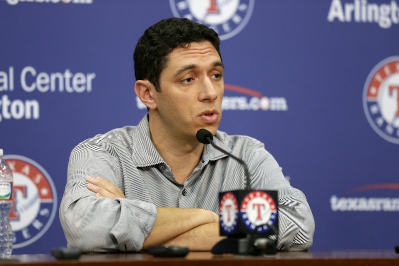 Texas Rangers President of Baseball Operations and General Manager Jon Daniels responds to a reporters questions during a news conference before a baseball game against the Seattle Mariners Wednesday, July 3, 2013, in Arlington, Texas. The Rangers have signed Manny Ramirez to minor league contract. Ramirez spent three months playing in Taiwan for the Rhinos before leaving the team on June 20. The Rangers made the announcement Wednesday. (AP Photo/Tony Gutierrez)