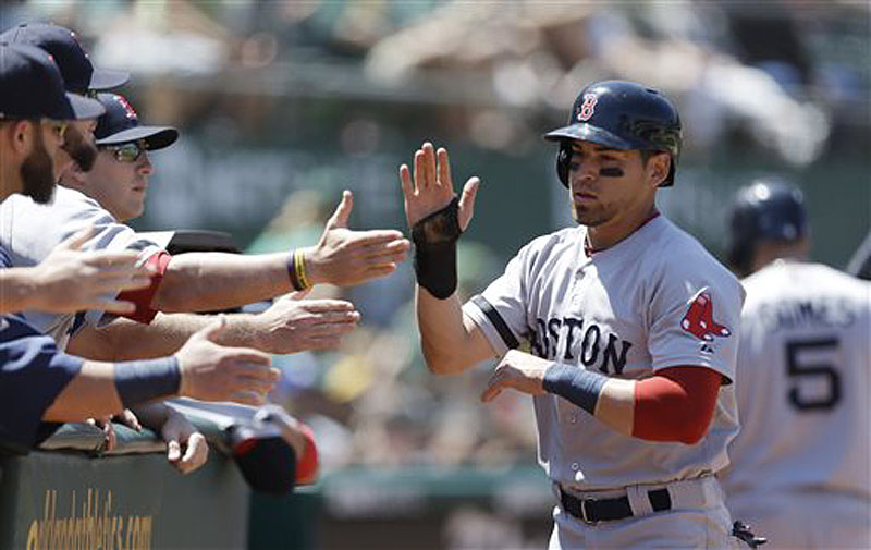 Jacoby Ellsbury, right, is congratulated after scoring against the Oakland Athletics in the sixth inning Sunday in Oakland, Calif. Ellsbury scored on a single by Dustin Pedroia. Oakland won, 3-2, in 11 innings.
