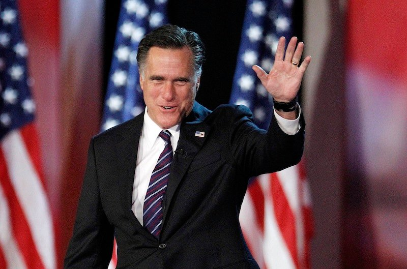 This Nov. 7, 2012, photo shows then-Republican presidential candidate and former Massachusetts Gov. Mitt Romney taking the stage to concede his quest for president, at the Boston Convention Center in Boston.