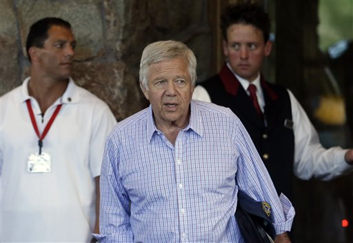 Robert Kraft, New England Patriots owner and Chairman and Chief Executive Officer of The Kraft Group, arrives at the Allen & Company Sun Valley Conference in Sun Valley, Idaho, Tuesday, July 9, 2012.