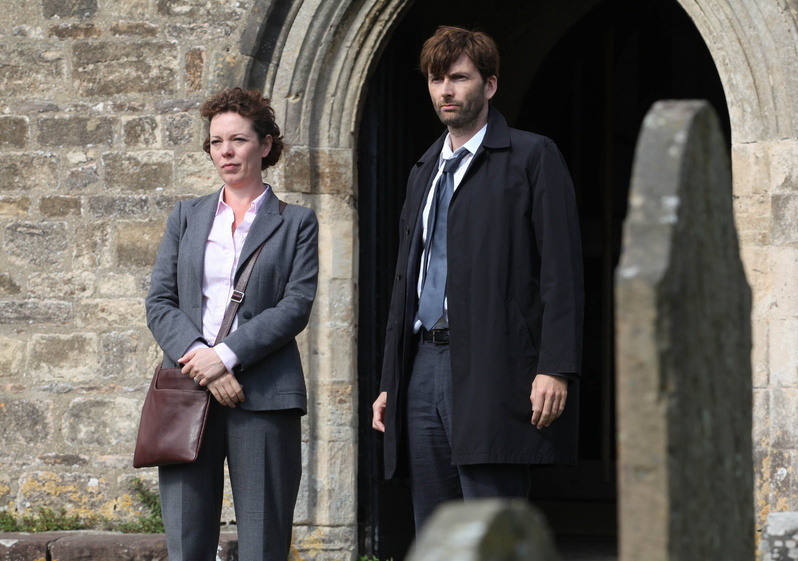 """David Tennant stars as Alec Hardy and Olivia Coleman as Ellie Miller in the BBC series """"Broadchurch,"""" premiering Aug. 7 at 10 p.m."""