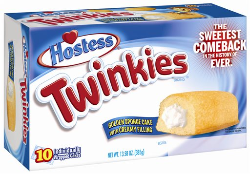 This undated image provided by Hostess Brands LLC shows a box of Twinkies. Twinkies will be back on shelves by July 15, 2013, after its predecessor company went bankrupt after an acrimonious fight with unions last year. The brands have since been purchased y Metropoulos & Co. and Apollo Global Management.