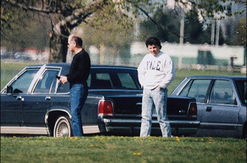 """This undated surveillance photo released Monday, July 8, 2013 by the U.S. Attorney's office at federal court in Boston shows James """"Whitey"""" Bulger, left, with his former right hand man, Kevin Weeks. (AP Photo/U.S. Attorney's Office)"""