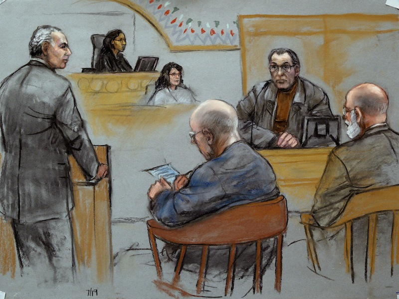 """This courtroom sketch depicts Stephen """"The Rifleman"""" Flemmi, upper right, on the witness stand as defendant James """"Whitey"""" Bulger listens, seated middle, next to his defense attorney J. W. Carney Jr., seated far right, while prosecutor Fred Wyshak, standing left, questions Flemmi during Bulger's racketeering and murder trial at U.S. District Court in Boston, Friday, July 19, 2013. Flemmi, who was once Bulger's loyal partner, has recounted multiple killings he says Bulger was involved in, either as a triggerman or a driving force. (AP Photo/Jane Flavell Collins)"""