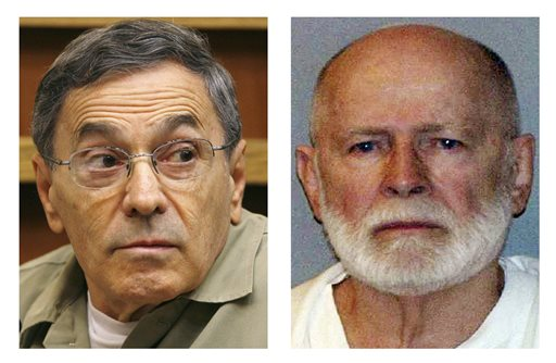 """Stephen """"The Rifleman"""" Flemmi, left, in a Sept. 22, 2008, photo, when he testified in a Miami court in the murder trial of former FBI agent John Connolly; and James """"Whitey"""" Bulger, right, in a June 23, 2011, booking photo provided by the U.S. Marshals Service."""
