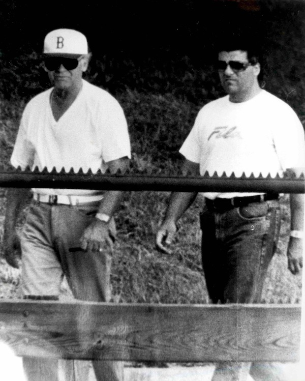 """This undated surveillance photo released Monday, July 8, 2013, by the U.S. Attorney's office at federal court in Boston shows James """"Whitey"""" Bulger, left, walking with his former right hand man, Kevin Weeks. (AP Photo/U.S. Attorney's Office)"""