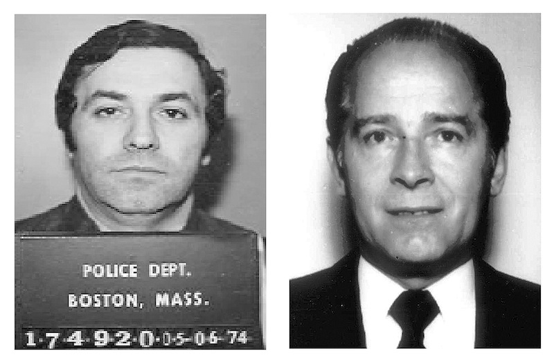 """This pair of file booking photos shows Stephen """"The Rifleman"""" Flemmi, left, in 1974 from the Boston Police Department, and James """"Whitey"""" Bulger, right, in 1984 from the FBI. Flemmi, Bulger's alleged former partner serving a life sentence after pleading guilty to 10 killings, is expected to testify in Bulger's trial Thursday, July 18, 2013 in federal court in Boston. Bulger, now 83, is accused in a 32-count racketeering indictment and in playing a role in 19 killings in the 1970s and '80s while he allegedly led the Winter Hill Gang in Boston. (AP Photos/File)"""