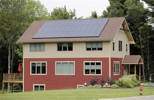 Solar panels generate electricity for this zero net energy home in New Paltz, N.Y. It is designed to reduce energy consumption through the use of energy-efficient appliances and insulation.