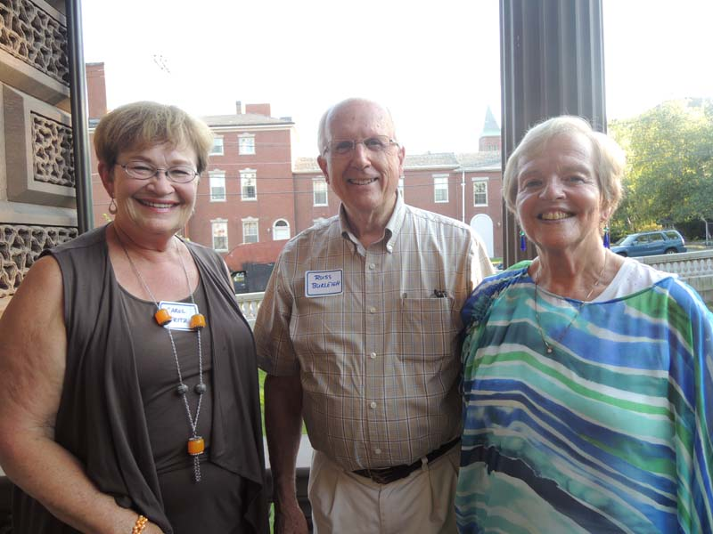 PORTopera advisory board members Carol Fritz and Russ Burleigh with longtime volunteer Daryl Geer.