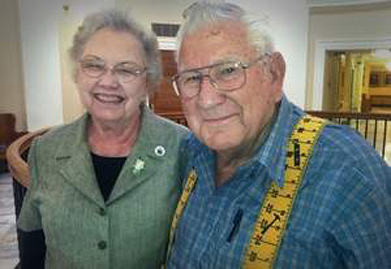 Marcine Webb, 86, and his wife, Nita Lou Webb, 81, of San Angelo, Texas, visit the Maine State House on June 7. Augusta is the 50th state capitol they have visited during their marriage.