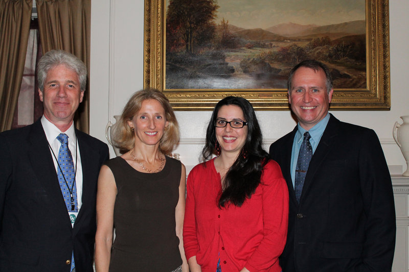 """Bob Fernald, publisher of Down East, Leslie Gibbons, Portland Ballet's director of development, Marjorie Gallant, Portland Symphony Orchestra's director of marketing, and Paul Doiron, editor in chief of Down East, during a celebration of the magazine's """"Best of Maine"""" edition at The Portland Club."""