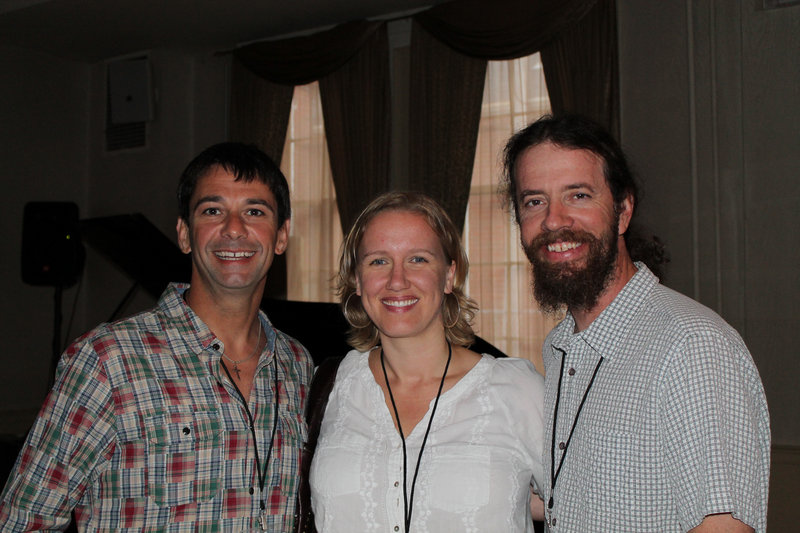 Vince Brazen and Robert Morrell, co-owners of Best Surf Shop Wheels N Waves in Wells, with Courtney Flynn of Biddeford.